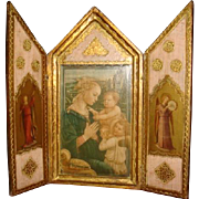 Italian Florentine Triptych F. Lippi Madonna and Child Virgin Mary, Children, Worshiping Angels Religious Art