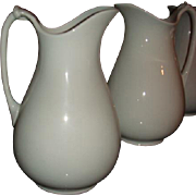 Antique Meakin English White Ironstone Tall Rope Handle Pitcher Ewer