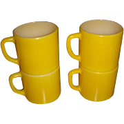 Set of 4 Bright Yellow Stackable Mugs Federal Kitchen Collectible