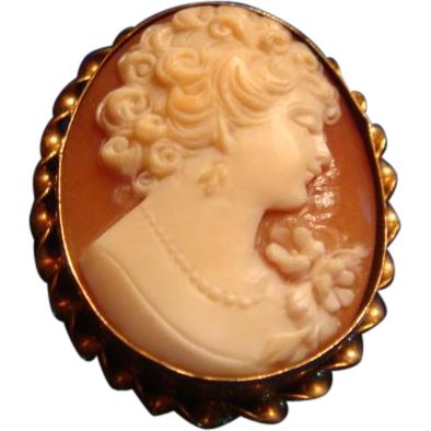 1930's Gold Filled Marked Carved Shell Cameo High Relief Pendant Brooch