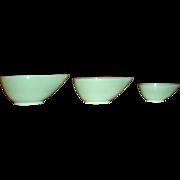 Set of 3 JADITE Fire King Swedish Modern Teardrop Bowls Like New