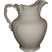 Very Large and Ornate Antique English White Ironstone Pitcher Alfred Meakin