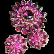 Large Vintage Judy Lee 4 Dimensional Deep Purple and Fuchsia Pink Brooch Earrings
