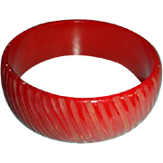 Carved Bakelite Bangle Bracelet Translucent True Red