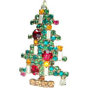 Large Book Piece Weiss 6 Candle Christmas Tree Brooch