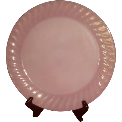 Deep Rose Pink Fire King Swirl Large Round Platter 11 Inches Salver
