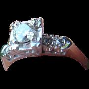 14K Gold Mine Cut Diamonds Bridal Engagement Cocktail  Ring Informal Appraisal