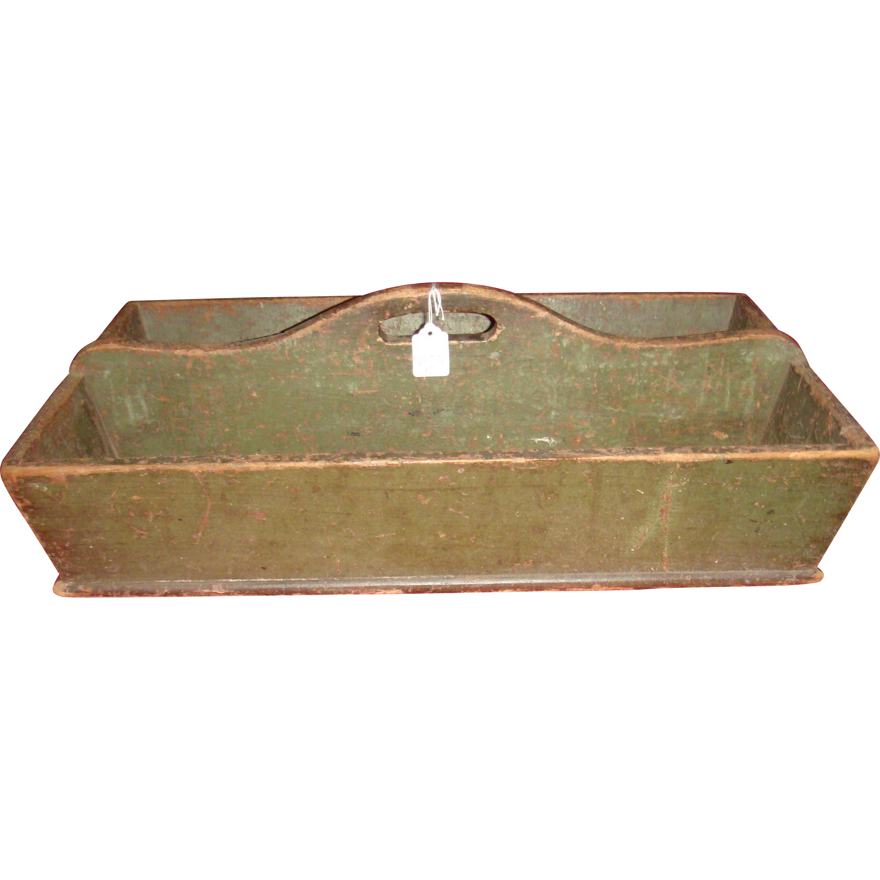 Large Antique Primitive Canted Sides Carrier Old Green Paint One Board Bottom