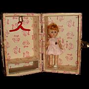 "7 1/2"" Hard Plastic Bent Knee Ginny Walker Red Hair, Cheeks, Tagged Dress, Metal Carrier"