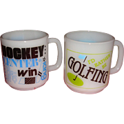 2 Vintage Sports Mugs Golfing and Hockey Glasbake Kitchen Collectibles
