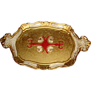 Florentine Italy Gold Gesso Over Wood Tray Red Red White Design Heart Fleur de Lis
