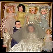 1946 Facsimile of Complete Wedding Party Dolls Bride, Groom, Bridesmaids, Flower Girl, Ring Bearer