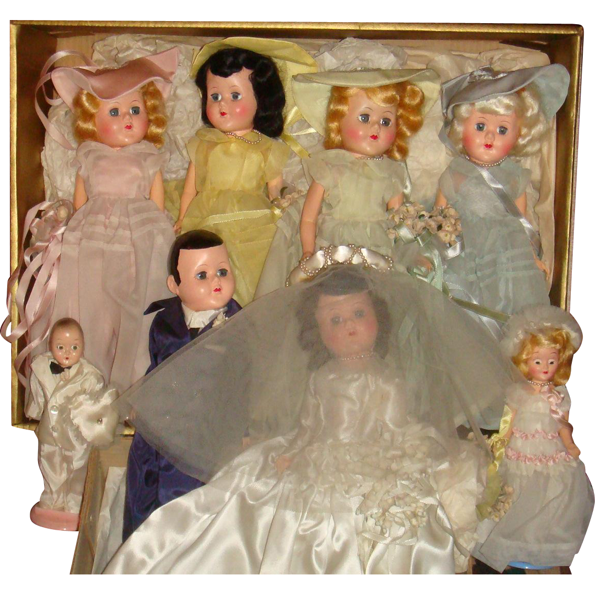 1946 Facsimile of Complete Wedding Party Dolls Bride, Groom, Bridesmaids, Flower Girl, Ring Bearer