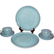 7 Pieces Fire King Turquoise Dinnerware Plates, Cups, Saucers, Salvers