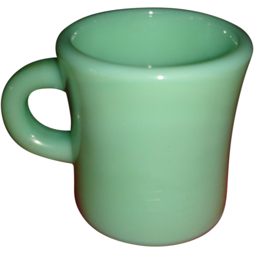Extra Heavy C Handle Jadite Fire King Glass Restaurant Ware Mug