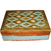Florentine Made In Italy Turquoise, Pink, Gold Gesso Over Wood Cigarette Trinket Box