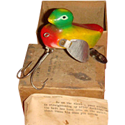 Very Rare NOS Large Byler Chicago Wooden Muskie Duc Lure Original Box, Papers, 1949-1952