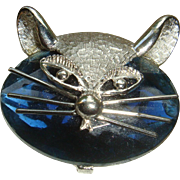 Signed Cool Cat Head Brooch With Large Faceted Stone and Silvertone Features