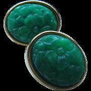 Vintage Oval Faux Jade Pierced Earrings
