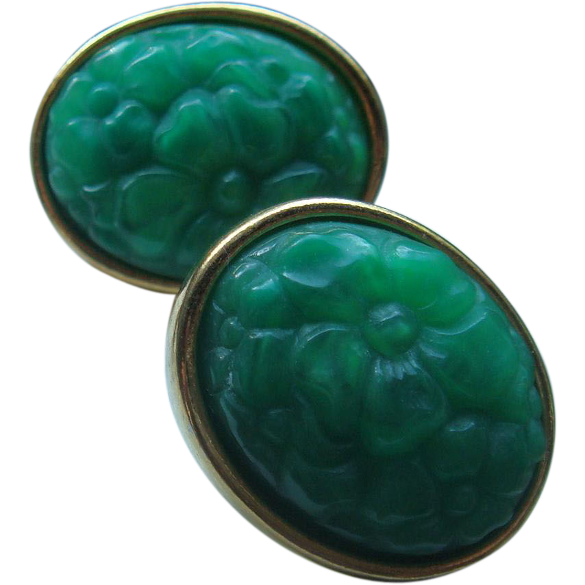 Vintage Oval Faux Jade Pierced Earrings