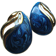 Vintage Pierced Earrings Swirled Shades of Blue Enameled Paisley Shape