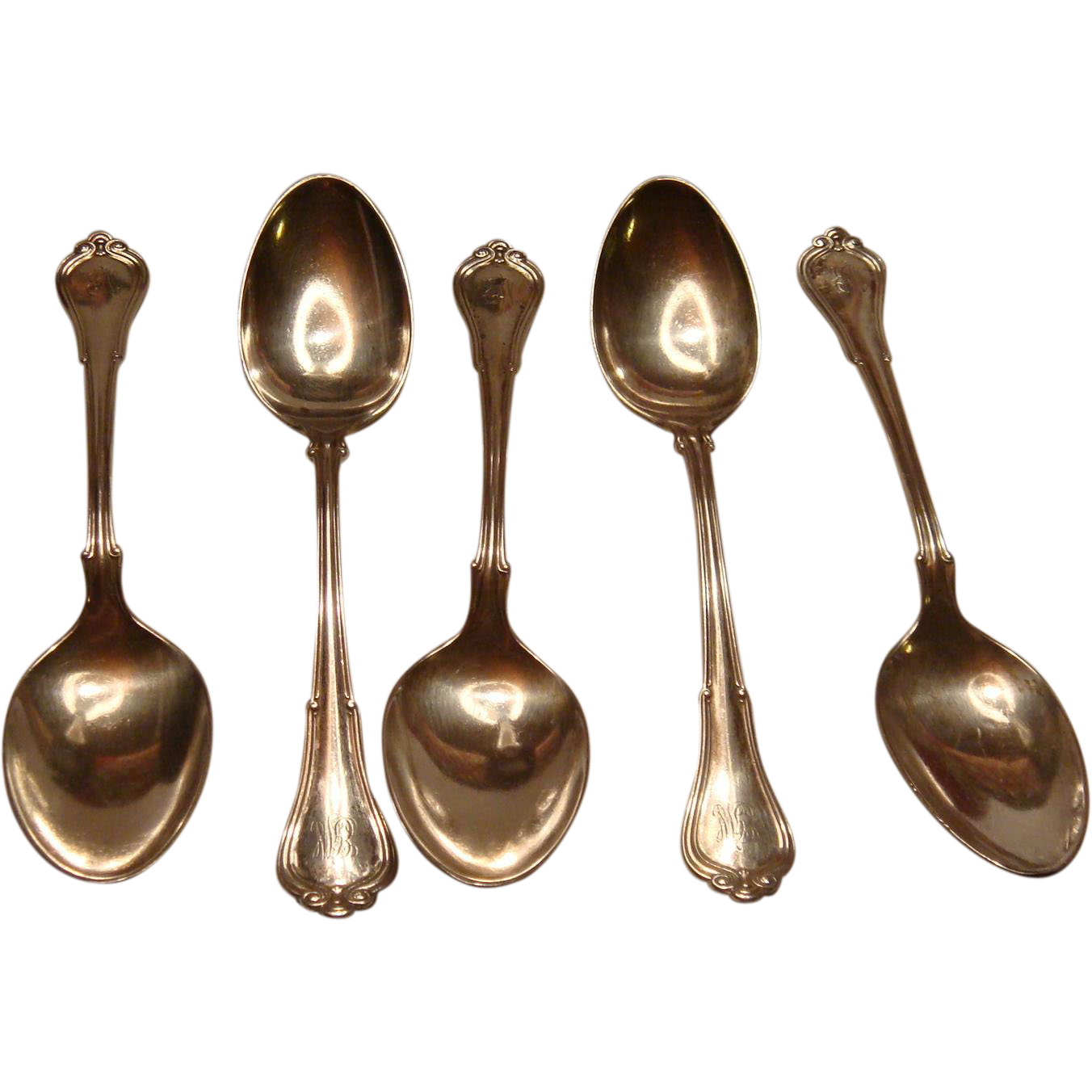 Set of 5 Gorham Sterling Silver Coffee Spoons Villa Norfolk 1903 Patent