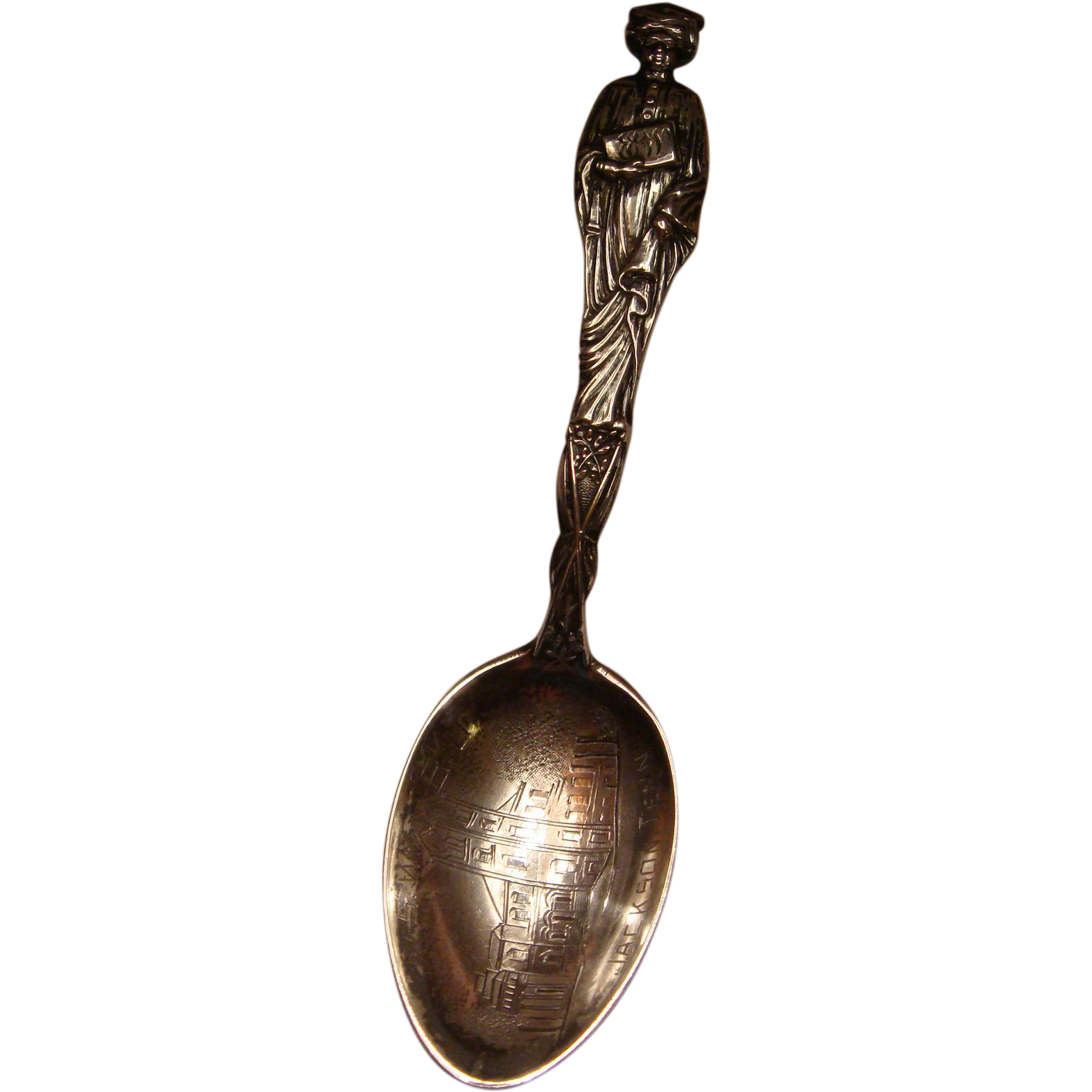 Sterling Silver Souvenir Spoon Jackson, Tennessee Female Graduate Union SWBU High Relief KY Estate