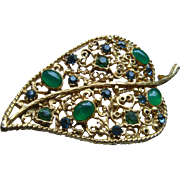 Vintage Filigree Florenza Leaf Brooch Emerald Jade Green Cabochons and Rhinestones