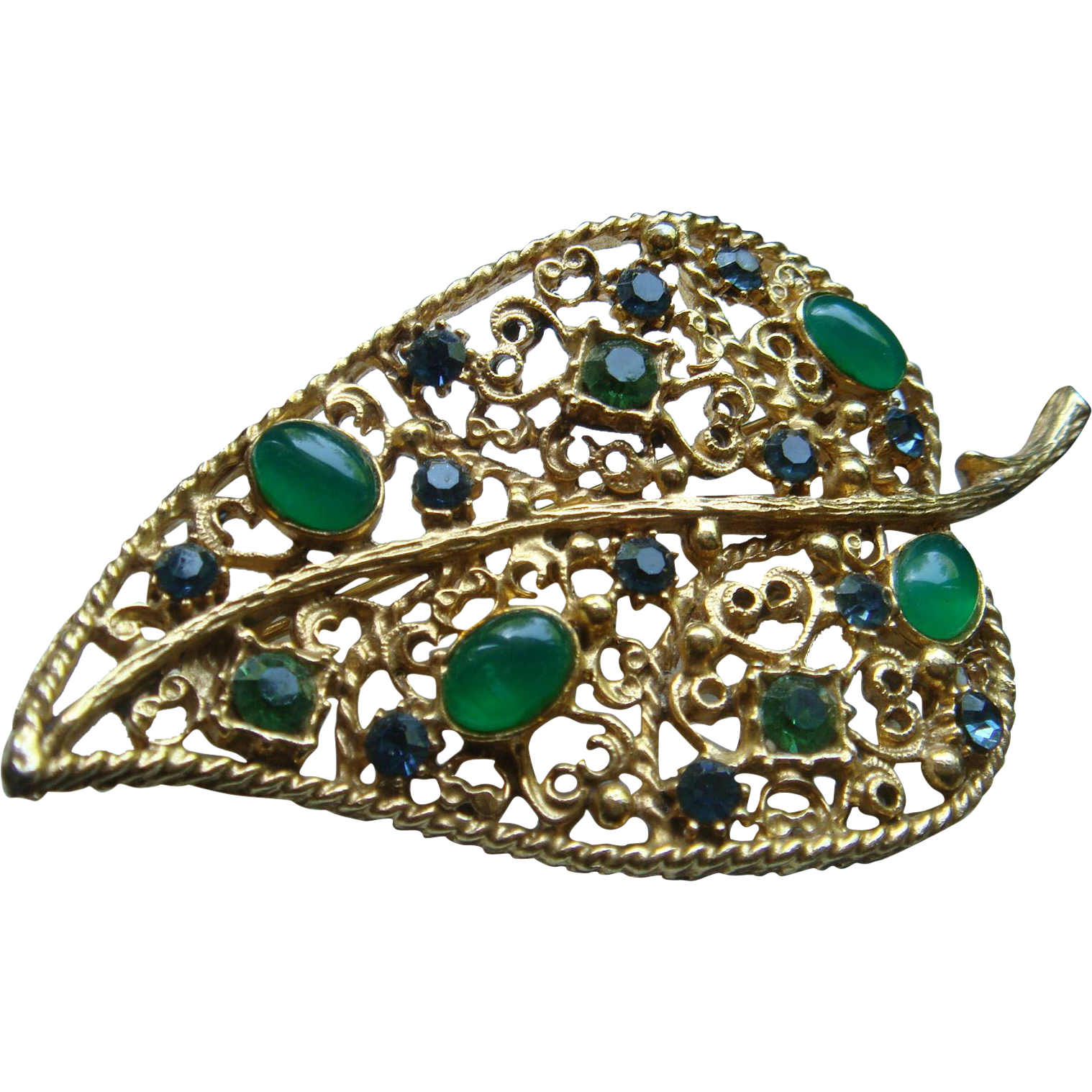 Vintage Filigree Florenza Leaf Brooch Emerald Jade Green Cabochons and Rhinestones