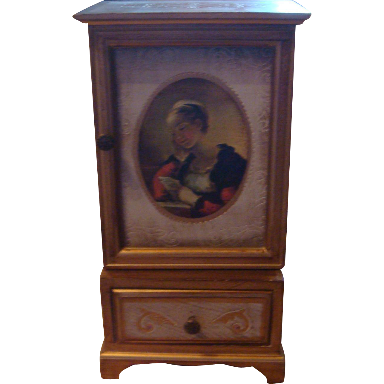 Tall Florentine Style Gold Gesso Wood Jewelry Music Box Chest Japan