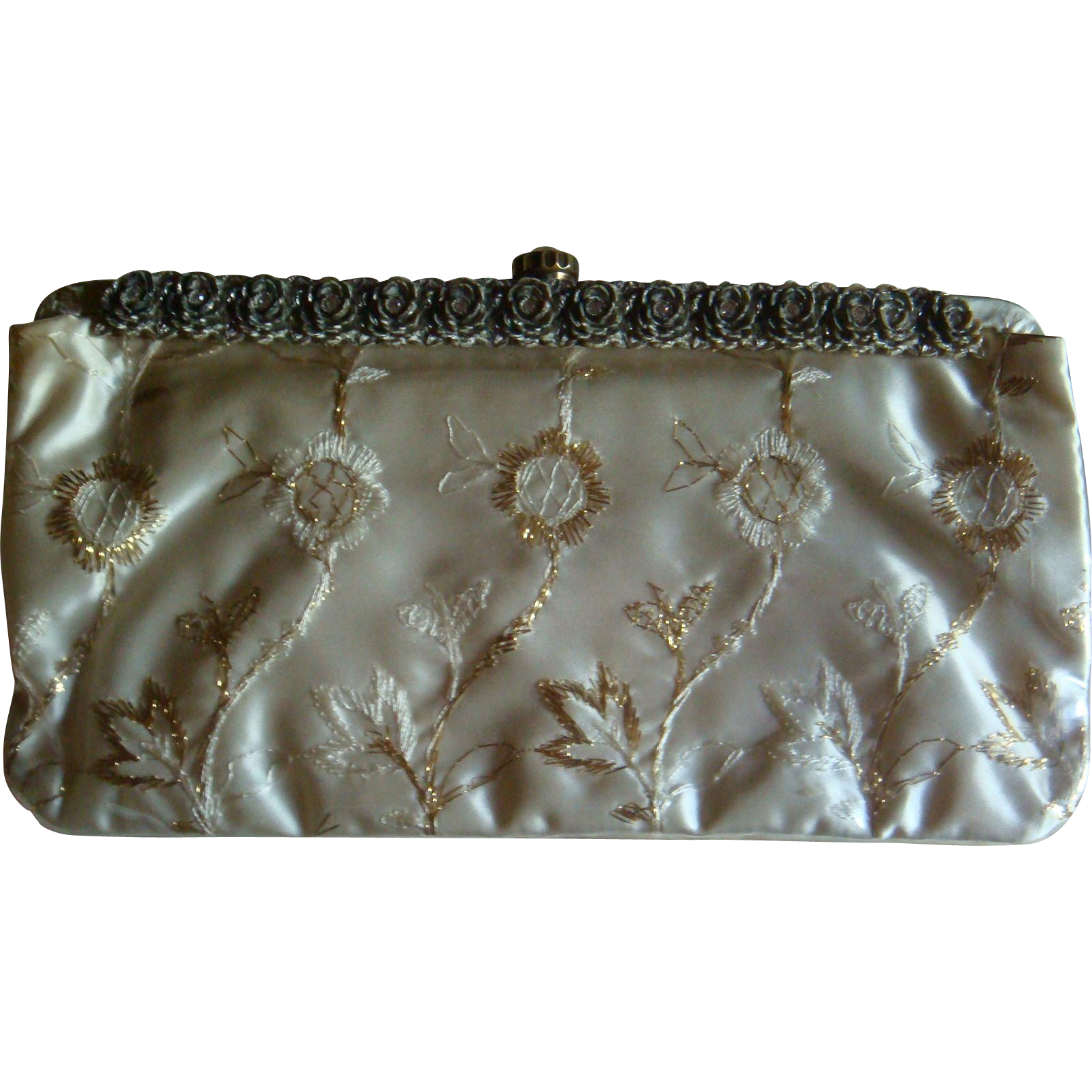 Patricia of Miami Vinyl over Satin Purse Gold Thread, Rhinestone Rose Frame, Kiss Lock