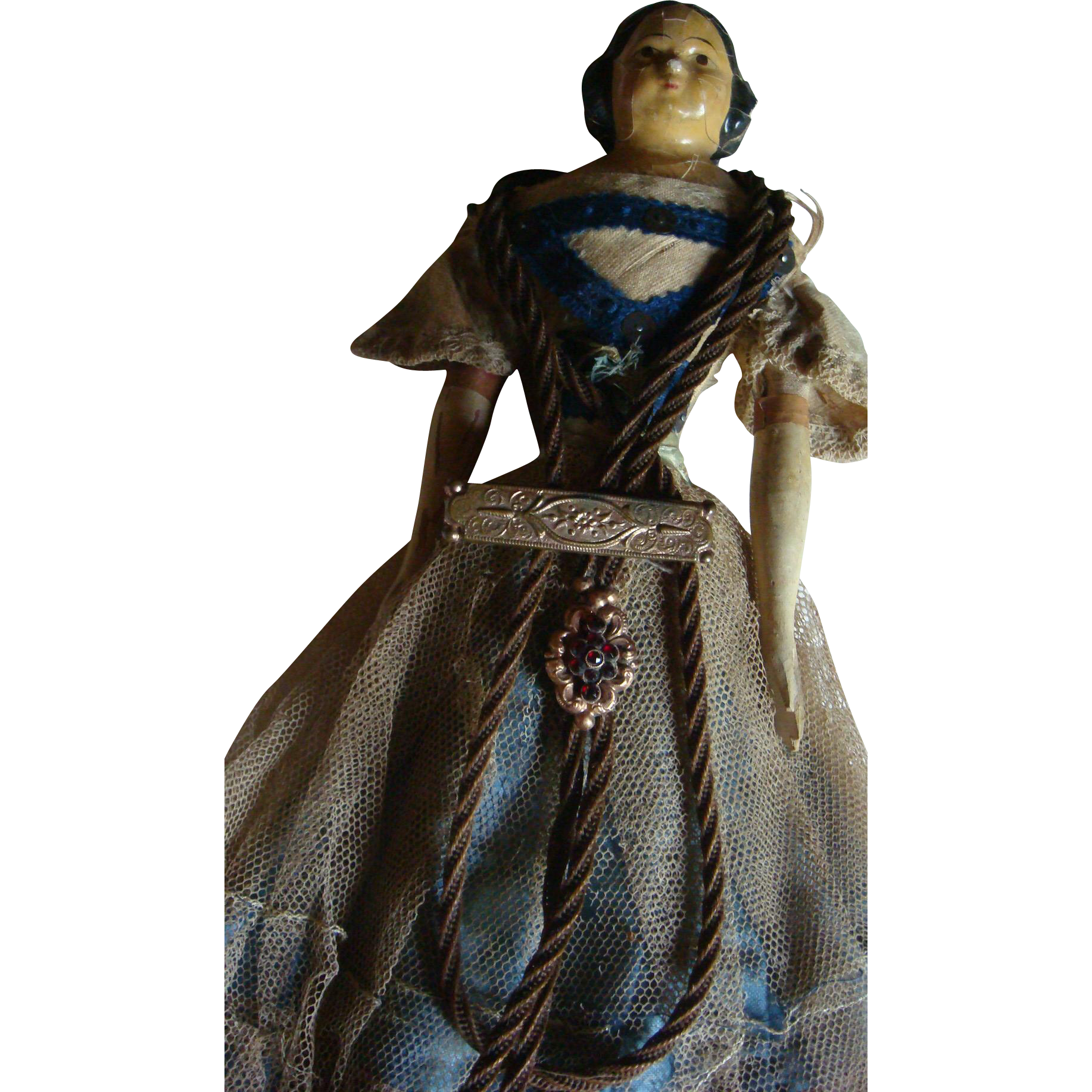 Antique Paper Mache Doll Bohemian Garnets, Hair Jewelry, Etched Bar Pin,Original Clothing