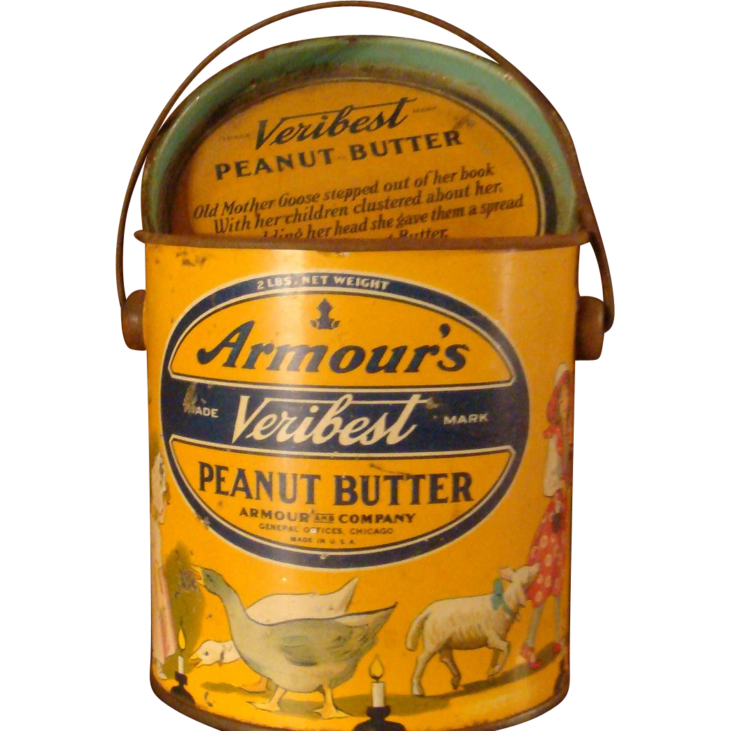 2 Lb. Armour's Veribest Peanut Butter Tin, Lid, Mother Goose Nursery Rhyme