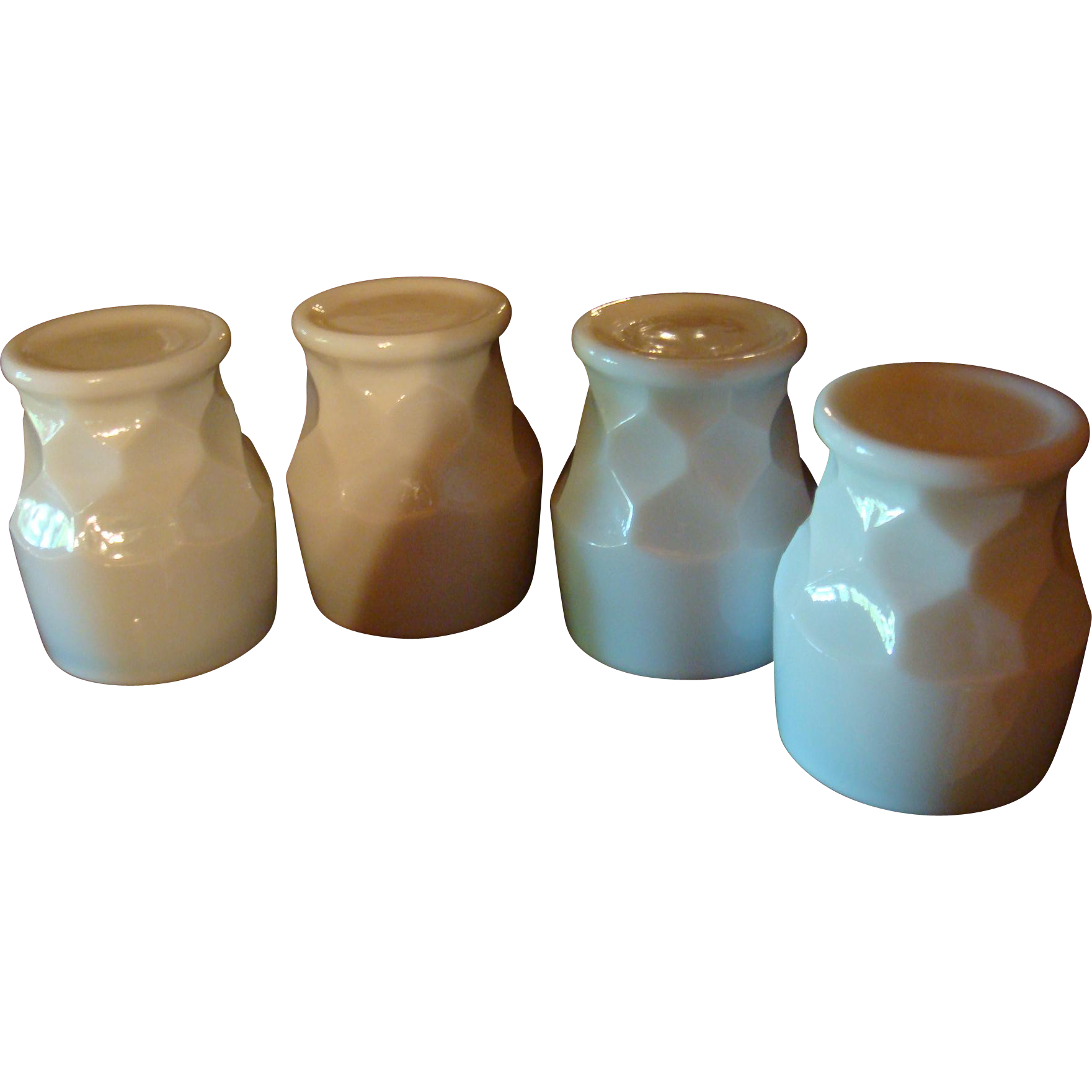 Set(s) of 4 Anchor Hocking Fire King Milk White Georgian Tumblers HTF