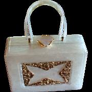 Original Wilardy New York Lucite Pearlized Purse Filigree Trim Elegant