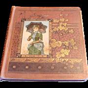 1876 Ephemera Large Victorian Scrapbook Die Cuts, Children, Fruits, Flowers, Fashion, Advertisements Dated