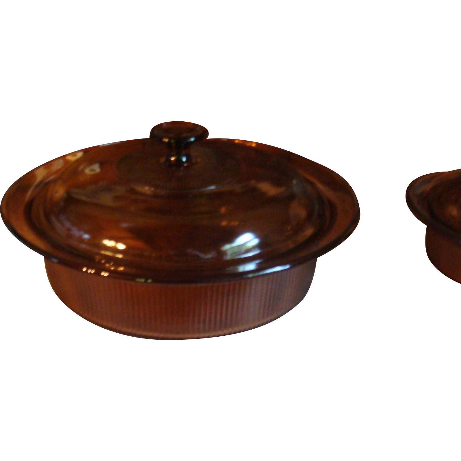 Large Corning Ribbed Glass Amber Visions 2.5 Quart Casserole With Lid Souffle Dish Cookware