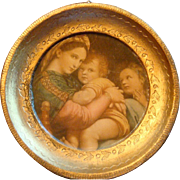 Miniature Florentine Italy Gold Gesso Wood Framed Mary, Jesus, John the Baptist Raphael Santi