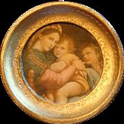 Miniature Florentine Italy Gold Gesso Wood Framed Mary, Jesus, John the Baptist Raphael Santi
