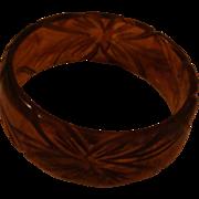 Carved Tortoise Shell Root Beer Colored Transparent Bakelite Bangle Bracelet