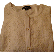 Vintage Cotton Lace Front Nylon Cardigan Sweater Faux Pearl Buttons