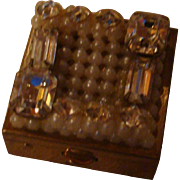Faux Pearls and Rhinestones on Trickettes Box Weisner of Miami Pillbox or Stamp Box