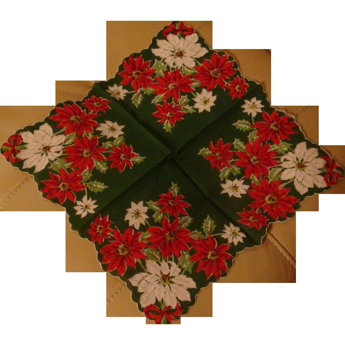 Vintage Christmas Handkerchief Hankie Poinsettia Flowers Scarf