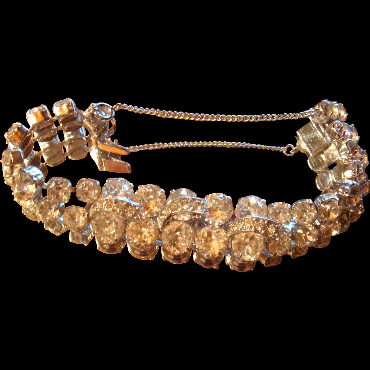 Eisenberg  Bracelet Large Sparkling Crystal Prong Set Rhinestones Safety Chain