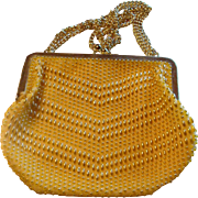 Vintage Yellow and Gold Beaded Safram Purse Handbag Made in Hong Kong Adjustable Strap
