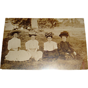 Real Photo Postcard 4 Ladies Amazing Hats, Gloves, Millinery Picture