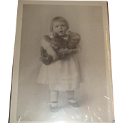 Old Black & White Photo Adorable Little Girl With Her Stuffed Teddy Bear