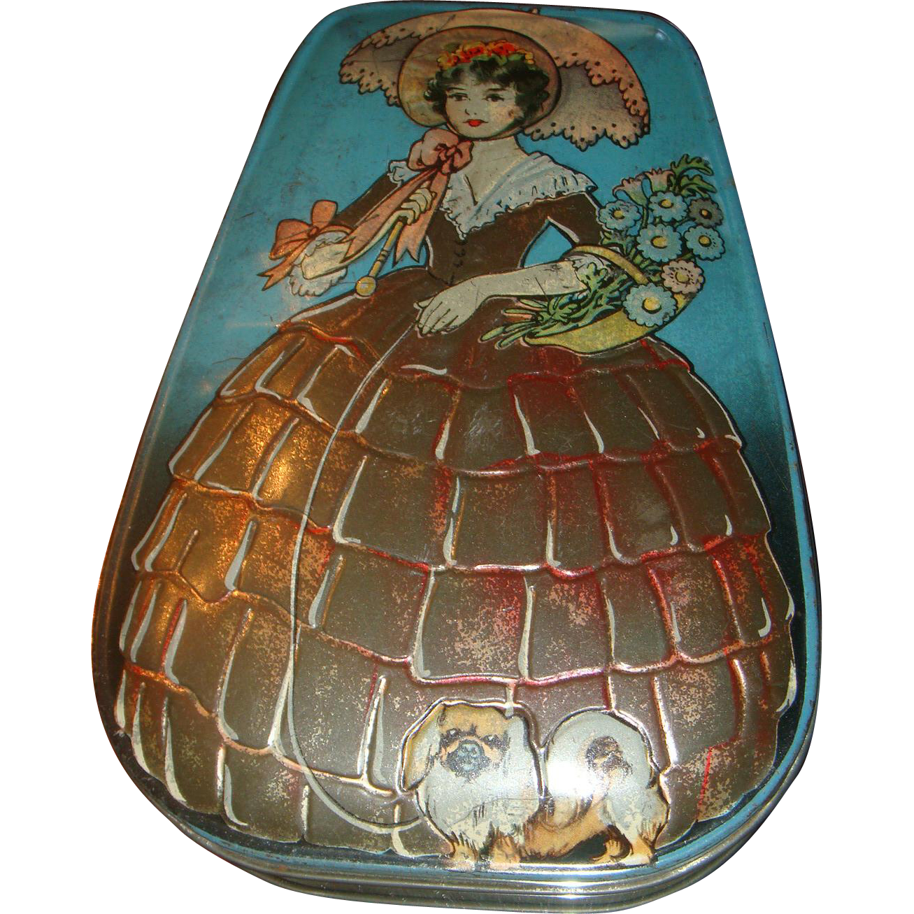 Vintage English Candy Tin Southern Belle Lady With Parasol Walking Her Pekinese Dog