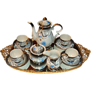 13 Piece Japan Moriage Dragonware Dragon Ware Tea or Chocolate Pot Set Slip Decoration