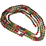 Multicolor Glass Beads Christmas Garland Decoration Nearly 9 Feet No. 2 of Several Lengths - Red Tag Sale Item